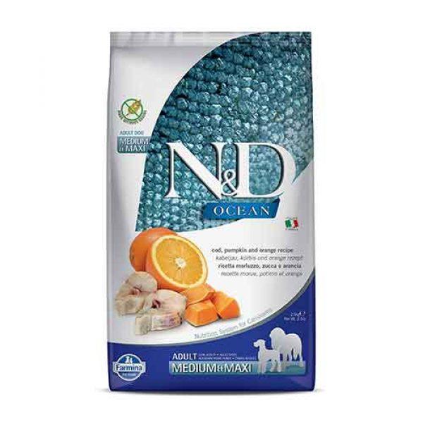 N&D Codfish Pumpkin & Orange Adult Dog Dry Food, Medium & Maxi - 2.5kg
